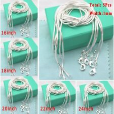 """5Pcs 1mm Chain Silver Flat Snake Chain Pendant Necklace Jewellery 16-24"""" New"""