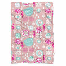 Winter Garden Pink Fleece Blanket - Soft Faux Fur Throw