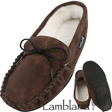 Lambland Ladies Suede Sheepskin Moccasin Slippers with PVC Sole - Brown