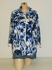 Sportelle Womens Blue & White Floral 3/4 Sleeve Zip-Up Stretch Jacket Plus Sizes