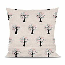 Owls in Blossom Trees Fleece Cushion - Heart Round Square Shaped Pillow in 2 Siz