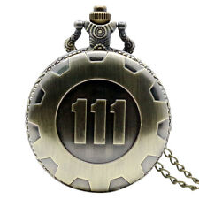 Fallout 4 Classic Black/Bronze/Gold Vault 111 Quartz Pocket Watch Necklace Gift