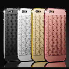 Luxury Aluminum Metal Bumper Grid Pattern Hard Back Case Cover For iPhone Series