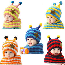 Winter Baby Boys Chaussures Girls Wool Hat Hooded Scarf Earflap Knit Cap Toddler