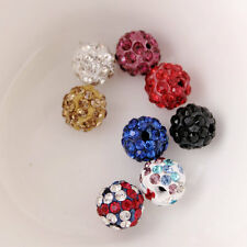 Trendy 20Pcs Multi-Color 8 Styles Crystal Rhinestone Round Ball Spacer Bead 10mm
