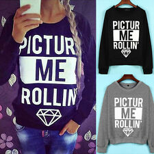 Women Casual Loose Letter Printing Round Neck Long Sleeve  Pullover Sweats Tops