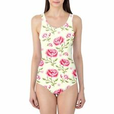 Pink Roses with Green Leaves Women's Swimsuit XS-3XL One Piece, Removable Paddin
