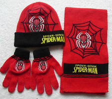 Lot Spider-man knit beanie hat children winter knitted scarf gloves hat set M-3