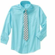 New George Boys Solid Woven Long Sleeve Shirt & Tie Set Clip-on Tie XS (4-5)