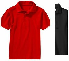 New Dickies Boys' Short Sleeve Pique Polo Shirt 3 Button Placket  Navy  M(10-12)