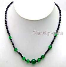"SALE Natural 4mm black round agate and 6-12mm Green jade 18"" Necklace-nec5868"