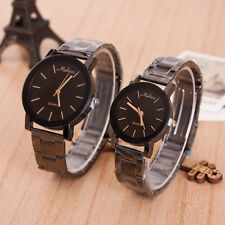 Womens Mens Couple Watches Stainless Steel Band Analog Quartz Wrist Watch Gift