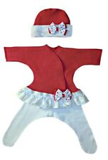 Red Hearts Baby Girl Dress, Tights and Hat Outfit - 4 Preemie Newborn Sizes