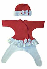Red Hearts Baby Girl Dress Set - Preemie & Newborn Sizes