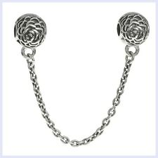 Sterling Silver Rose Stopper Clip Safety Chain Bead f/ European Charm Bracelet