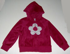 EUC Gymboree girls burgundy flower applique velour zip-up hoodie cardigan sz 3/4