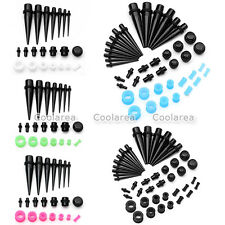 21 Pair Acrylic Ear Taper, Solid Plugs, Silicone Tunnels Expander Piercing Gauge