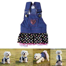 Hot Lace Pocket Lovely Costume Apparel Clothes Jeans Dress Skirt For Pet Dog