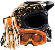 Adult Orange Helmet with Gloves and Goggles Dirt Bike MX Motocross ATV Off Road