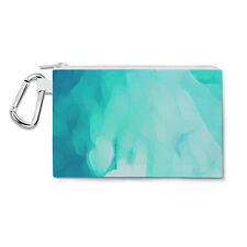 Blue Abstract Watercolor Canvas Zip Pouch - Pencil Case Multi Purpose Makeup Bag