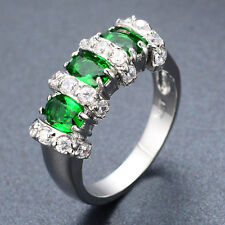 Sz7/8 Women's Green Emerald Engagement Ring 10KT White Gold Filled Fashion