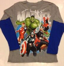 Marvel AVENGERS Shirt Boys S  M  L  XL  IRONMAN Thor SPIDERMAN Capt America HULK