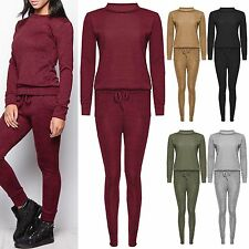 NEW WOMENS MARL KNIT LOUNGEWEAR SET SWEATSHIRT LADIES JOGGERS TRACKSUIT PANTS