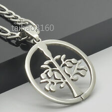 """4.5mm Stainless Steel Figaro Link Chain Dog Tag Tree Pendant Necklace 18-36"""" *85"""