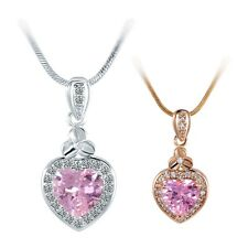 18K White/Yellow Gold Filled Pink Swarovski Heart Crystal Chain Pendant Necklace