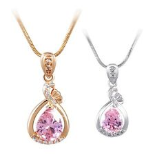 18K White/Yellow Gold Filled Dashing Sweet Pink Sapphire Necklace Pendant Chain