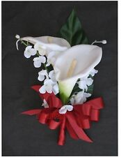 New Artificial Apple Calla Lily Corsage, Apple Red Calla Lily Mother's Corsage