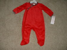 Chaps Baby Girls Christmas Velour Sleeper Pajamas Size 3M 6M 3 6 months NWT NEW