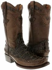 Men's Brown Crocodile Genuine Leather Embossed Design Casual Dress Cowboy Boots