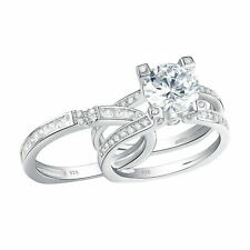 2 Round White CZ 925 Sterling Silver Wedding Party Engagement Ring Set Sz 5-12
