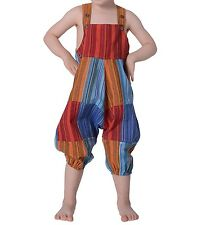 Colourful Om Patchwork Kids Bib Trousers Aladdin Pants Harem Hippie Overalls