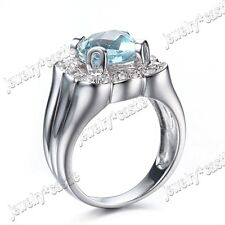 Silver 8x8mm Cushion Cut SKY BLUE TOPAZ Halo AAA Cubic Zirconia Ring Gift