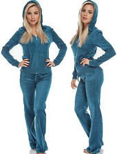 Teal Velour Hoodie Track Suit Sport Celeb Outfit Woman Jacket Pants TRACKSUIT
