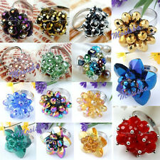 Womens Colorful Crystal Glass Flower Adjustable Finger Ring us6/7.5 Jewelry Gift