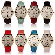 Women Ladies Fashion Watches Numerals Gold Dial Leather Analog Quartz Watch Nice