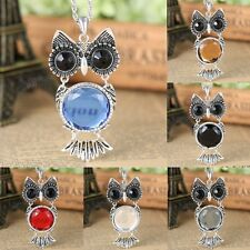 Women Retro Silver Owl Gemstone Pendant Necklace Long Sweater Chain Jewellery