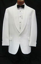 37S White Shawl Tuxedo Dinner Jacket Pants Bow Tie Prom Package Spring Formal