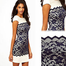 Women Short-sleeved Stitching Lace Zipper Round Collar Slim Party Cocktail Dress