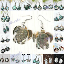 Pair Natural Abalone Mop Shell Bead Round Oval Butterfly Dangle Hook Earring HOT