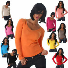 Sexy Ladies Pullover Jumper Fine knit V-Neck Sweater Long Sleeve Sweatshirt(905)