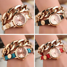Punk Women Watch Bracelet Gold Dial Leather Chain Wrap Analog Quartz Wrist Watch
