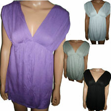 Sexy Ladies' Top Babydoll Tunic Top Bat sleeves V Neck Grey (R-54)