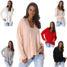 Sexy Ladies Sweater Sweater Sweater Sweatshirt long sleeve V-neck 34-40 (C290)