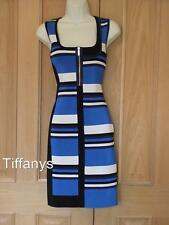 KAREN MILLEN BODYCON GRAPHIC STRIPE KNIT DRESS BNWT SZ 3, UK 12-14