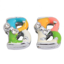 50x Double White Rhinestone Colorful Enamel Plated Rhodium Letter Beads Charms C
