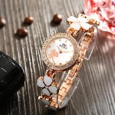Women Girl Lucky Clover Bracelet Analog Quartz WristWatch Rhinestone Watches